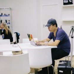gary fong is working in hapateam booth at photokina 2014