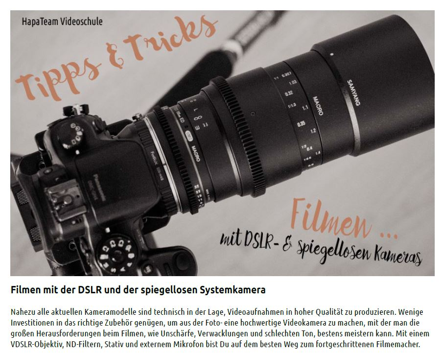 1 Filmen Foto Video - Videoschule