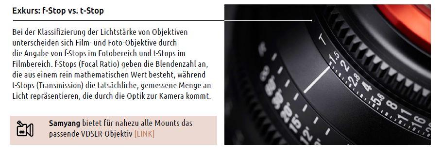 4 VDSLR Objektive t stopp Filmen
