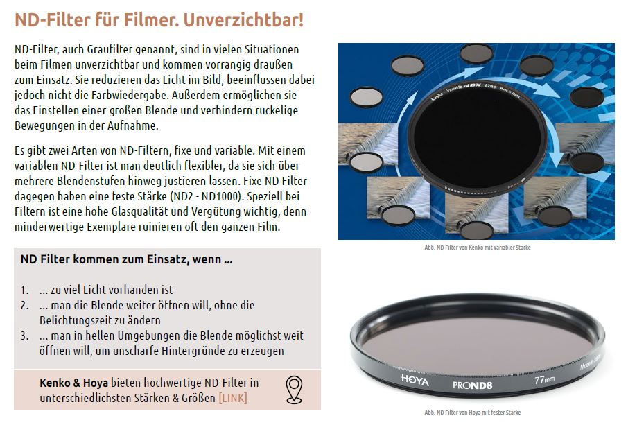 7 ND Filter Filmer Blende Helligkeit Video