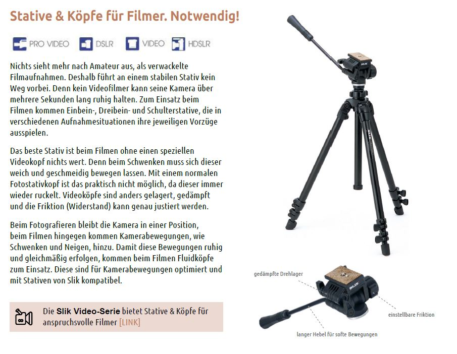 8 Video Stative und Stativkoepfe Filmen Filmer Fluid