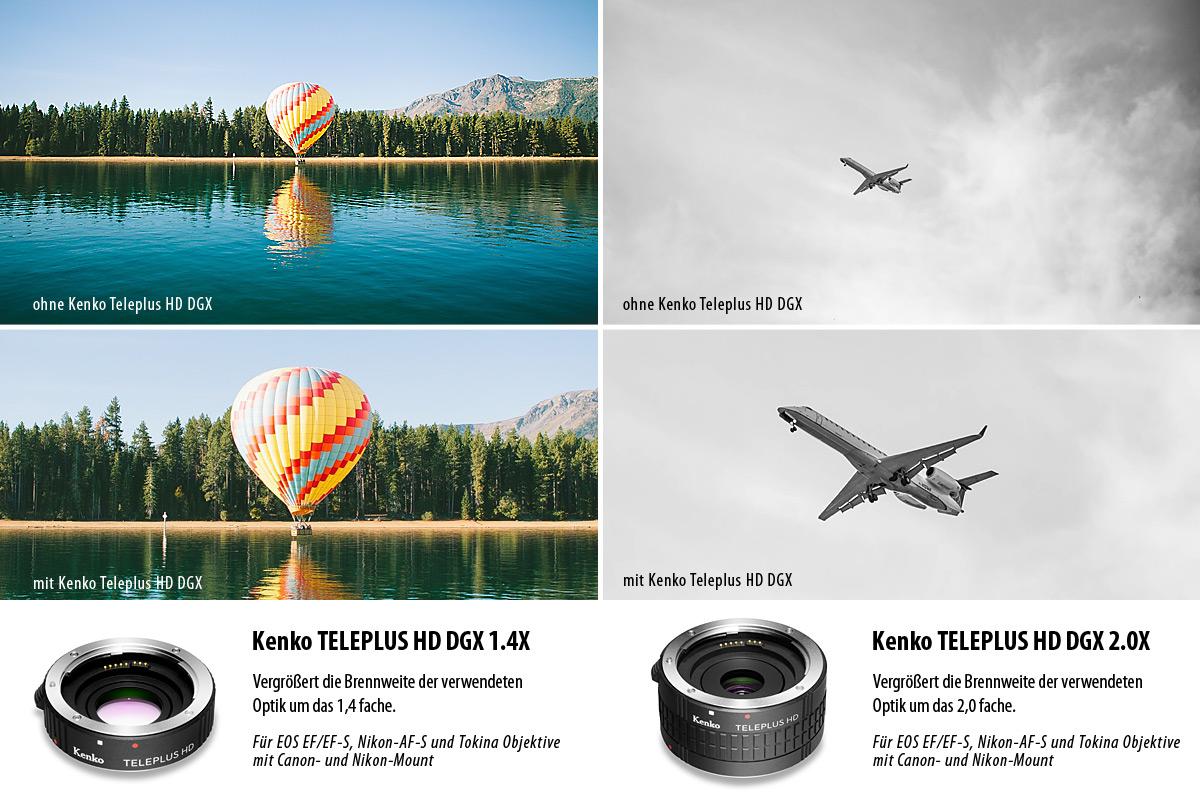 Telekonverter für originale Canon EOS EF/EF-S, Nikon-AF-S Objektive sowie Tokina Objektive mit Canon- und Nikon-Mount