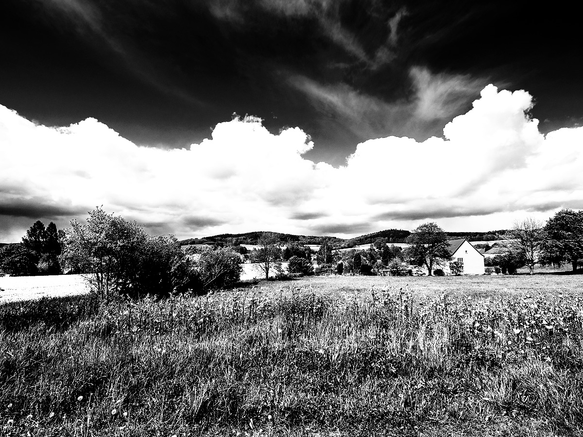 Infrarotfilter für einen dunklen Himmel, plastische Wolken und extrem helle Vegetation / © R. Schubert
