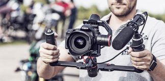 Elektronisches 3-Achs Zweihandgimbal für DSLR- und DSLM-Kameras sowie Camcorder